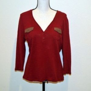 Chaps Red V-Neck Tee-Shirt Size L
